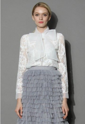 This super sweet lace shirt is decorated with a delicate lace floral pattern and a fancy organza bow collar! Let our bowknot lace shirt bring out your delicate femininity, doll face! - Soft touch lace fabric - Button fastening through front - Organza self-tie collar - Button cuffs - 95% Polyester, 5% Spendex - Hand wash cold Size(cm) Length Bust Shoulder sleeves S/M      59    94    36      62 Size(inch) Length Bust Shoulder sleeves S/M      23     ...