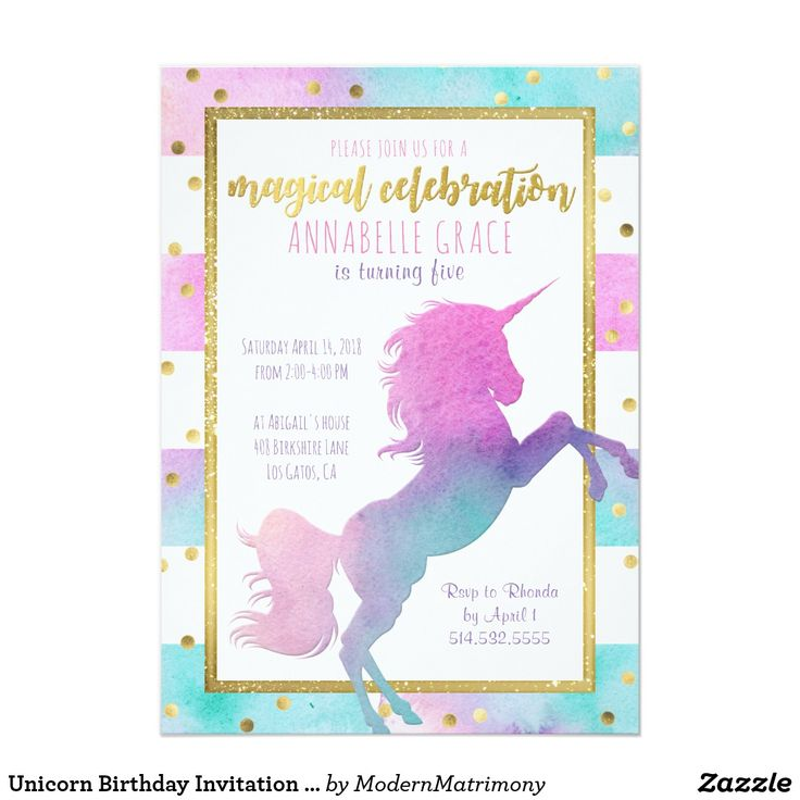 60 best unicorn invitations images on pinterest unicorn unicorn birthday invitation watercolor glitter filmwisefo Image collections