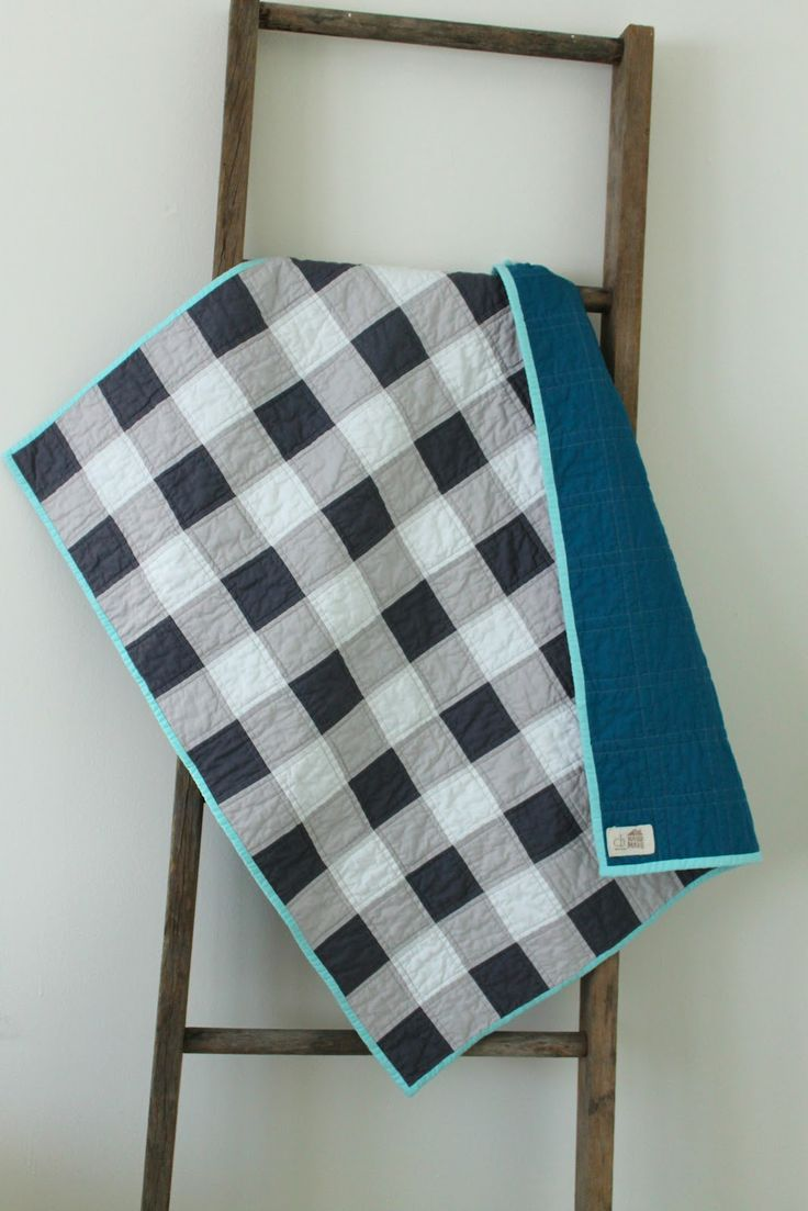 Craftyblossom: gingham quilts. make it like this but black, grey and white on top and a bright red backing :)