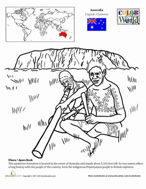 Introduce your child to geography in a fun way and stop by Uluru, also known as Ayers Rock, a sandstone monolith in the middle of the Australian continent. The coloring page includes an interesting fact and is a great place to start talking about world history and cultures!