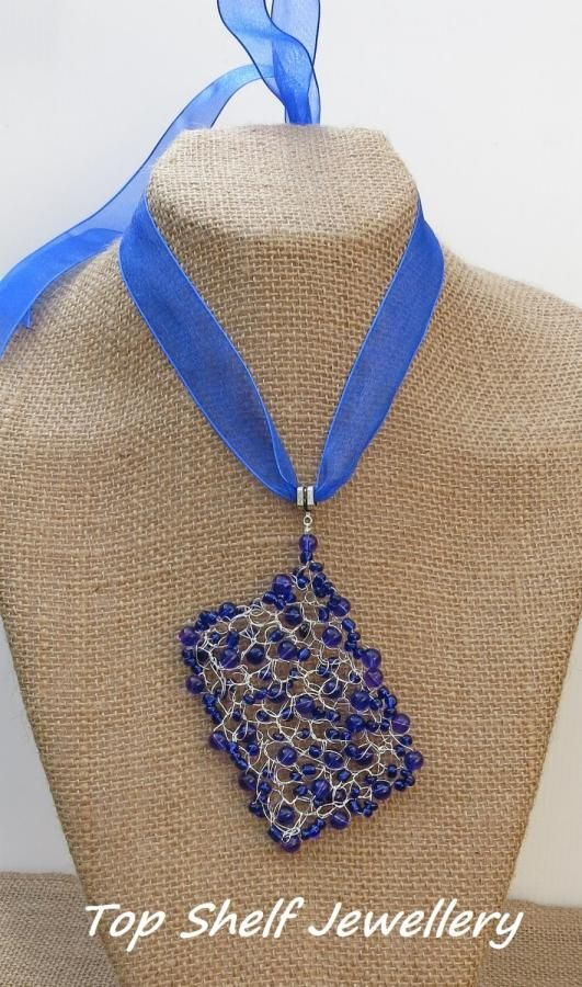 Blue Crochet Pendant - Jewelry creation by Top Shelf Jewellery & Accessories