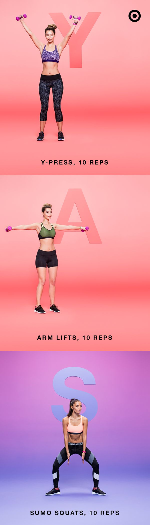 """You know what they say: no days off. So here's a full body workout you can do anywhere—especially when you're sporting an all-new C9 Champion® Power Core® or Power Shape™ sports bra. With an all-new range of colors, patterns and textures, it's athletic gear perfect for every workout move there is—from A to Z. Complete 3 sets of this workout for particularly """"YAS"""" results."""