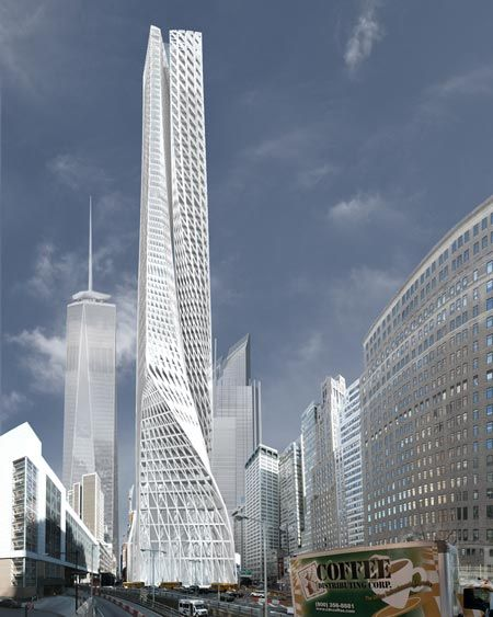 Edgar Street Towers responds to its immediate site context while establishing a strong relationship to the larger urban form of Manhattan.: Futuristic Architecture, L'Wren Scott, Lower Manhattan, Modern Building, Street Towers, Modern Architecture, Edgar Street, Manhattan New York, Iwamoto Scott
