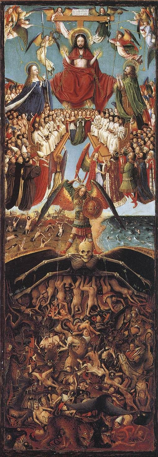 """Jan van Eyck : The Last Judgement Altar Piece""""Lamb of God"""" .....St Baaf's Cathedral, Ghent, Belgium...................""""For God shall bring every work into judgment, with every secret thing, whether it be good, or whether it be evil"""".......12:14"""
