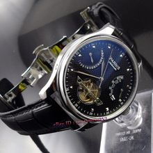 Parnis 43mm power reserve black dial seagull movement date deployant clasp Automatic movement  Men's watch 412(China (Mainland))