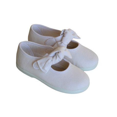 Soft Canvas Oh-My-Bow Gingham White Mary Janes | Rubber Sole | Made in Spain