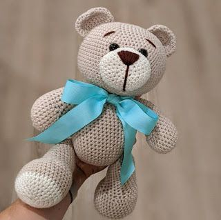 Crochet Teddy Bear Pattern Free, Teddy Bear Patterns Free, Crochet Amigurumi Free Patterns, Crochet Bear, Baby Patterns, Crochet Toys, Free Crochet, Knitting Patterns, Diy Teddy Bear