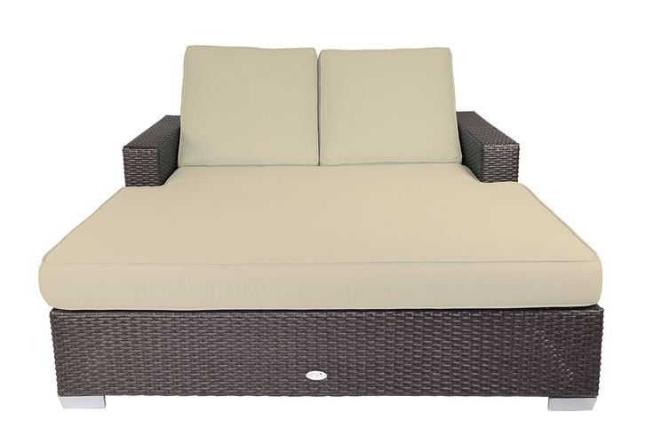 Patio Heaven SB-C2-5422 Signature Double Chaise Lounge with Cushion in Canvas Fabric, Antique Beige. Sturdy powder-coated aluminum frame. Non-toxic 100% recyclable material. All-weather and UV resistant polyethylene wicker. Includes premium UV resistant Sunbrella outdoor cushions manufactured in the USA.