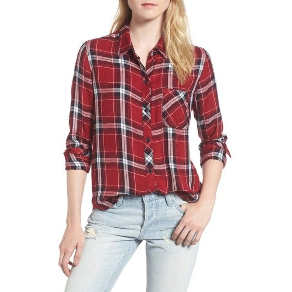 Women's Rails Hunter Plaid Shirt ($148) ❤ liked on Polyvore featuring tops, cranberry ink, print shirts, red plaid shirt, plaid pattern shirt, red plaid top and relaxed fit tops