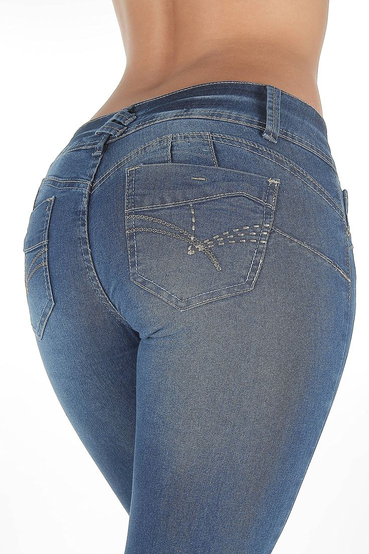 """SF8-85206S - Colombian Design, Butt Lift, Levanta Cola, Sexy Skinny Jeans in Blue Size 13. Butt lift Denim, 2 buttons on a wide waistband makes your tummy looks flatter. Contrast stitching, functional front pockets, classic back pockets with embroidery. Fashion Jeans for Women, Like the Brazilian jeans and Colombian jeans styles designed for the """"levanta cola"""" effect, the additional stitching in the back rises over your rear and hugs your hips to create the butt lifting effect. Fabric..."""
