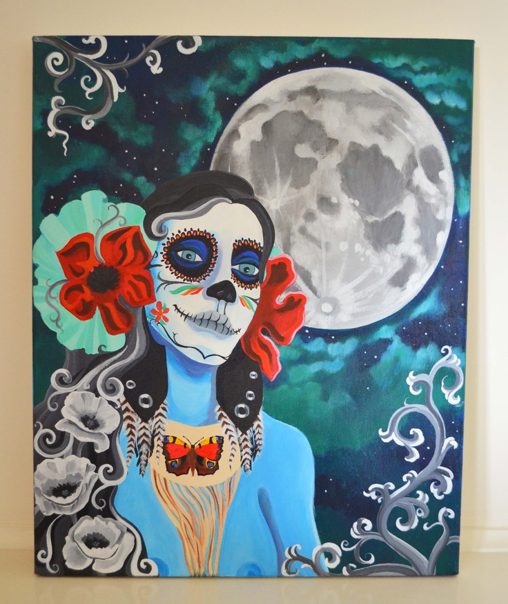 Sugar Skull Goddess    With the light always comes the dark.  She lives in the deepest of places,  she is not death but a representation of the ultimate manifestation of the self.  When you allow old ideas and behaviors to pass you find a renewed sense of self and an opportunity to grow into your full potential.  She stands at the gateway of old and shows you the door to the new, the full moon lights the path.   Only when you have walked through the darkness can you than stand in the light.