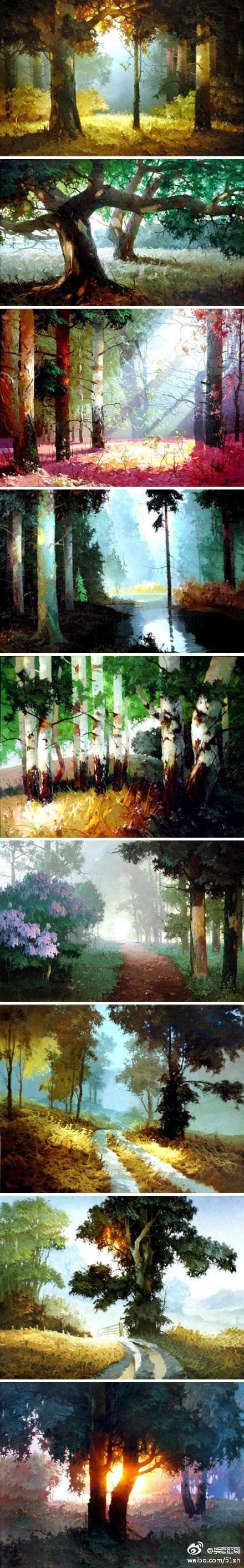 landschap..his work has an almost sinister undertone to it...like the forest holds back some evil!!! i love it!!