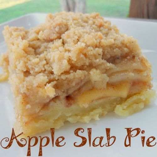 Apple Pie For a Crowd , Directions: 1. Preheat oven to 350 degrees. In a large bowl, combine flour, sugar, salt, and baking powder. Cut in shortening until mixture resembles coarse crumbs. Mix egg yolk and water together and mix in flour until it forms a ball. Roll out to fit the bottom of a 10x15 pan. 2. In a large bowl, combine apples, lemon juice, 2 Tbsp flour, sugar, and cinnamon. Pour filling into pie crust and dot with 2 Tbsp butter. 3. In a medium bowl, combine 1 C flour, 1 tsp