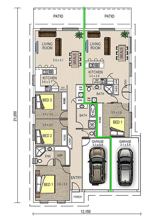 Grace 1, Dual Occupancy Double Garage Floor Plan