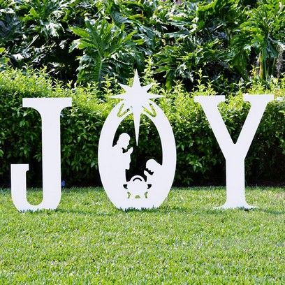 Outdoor Nativity Sets for Christmas   Joy Nativity Yard Sign   Christmas Yard Art