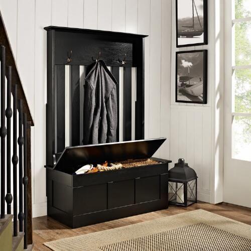 Black Wood Wentworth Entryway Storage Bench - v3