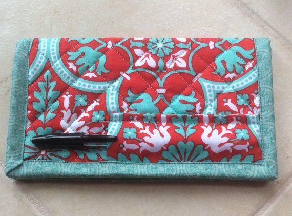 Quilted Checkbook Cover Vera Bradley Style by TheBattyQuilter