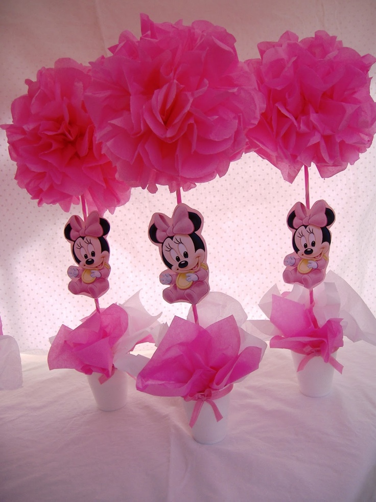 Baby minnie mouse centerpieces rylins bday pinterest for Baby minnie mouse party decoration