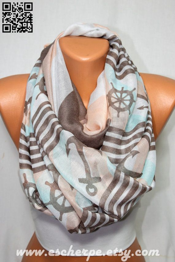 Anchor Scarf Sailor Scarf Peach Brown Aqua Nautical by escherpe