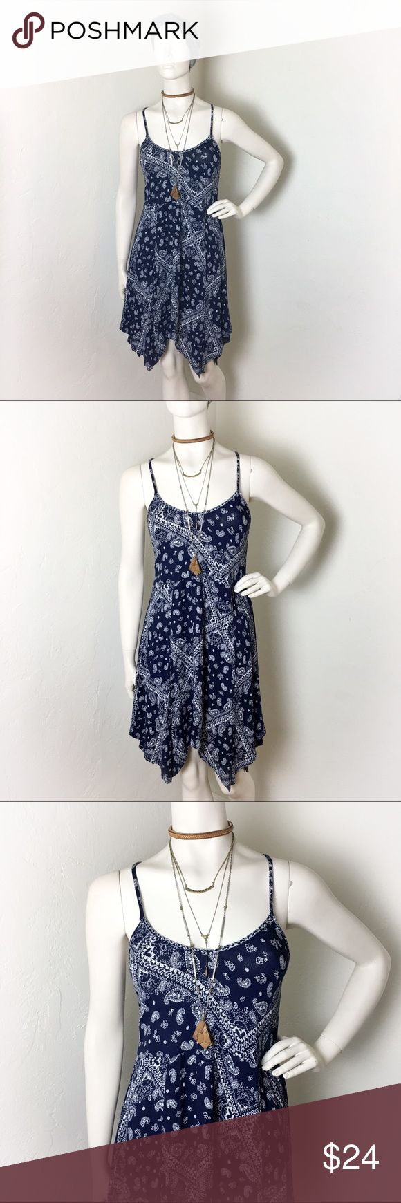 Socialite Blue Bandana Print Dress Small Dark blue bandana print summer dress. Upper adjustable straps and tie around waist back. This is in great condition. Socialite Dresses