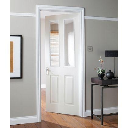 White wood internal doors with glass panels, for connecting kitchen to living room doors