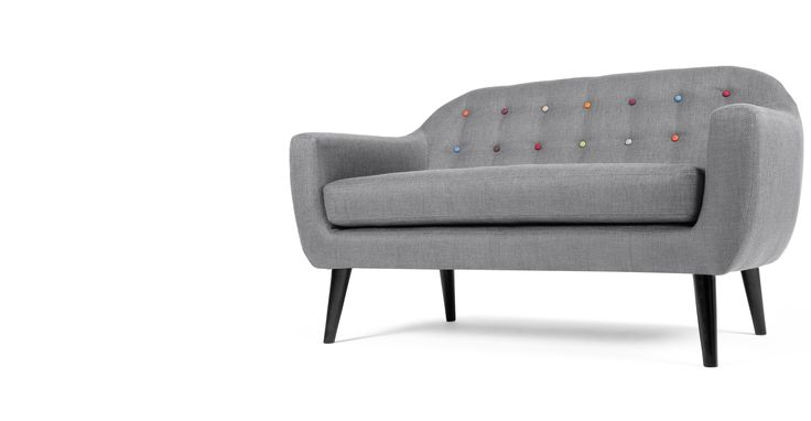 £499 + £40 Ritchie 2 Seater Sofa, Pearl Grey with rainbow buttons