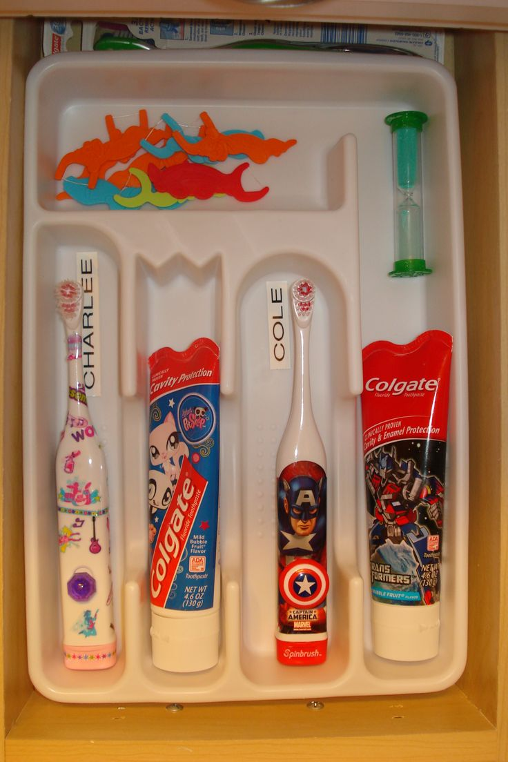"Much better than counter or cabinet! Brilliant! I am doing this! Saves germ exchange since they will have their own ""spot"" too! And floss sticks will no longer roll around in the drawer! thanks for sharing! If only I had drawers in my bathroom.  LOVE IT!!"