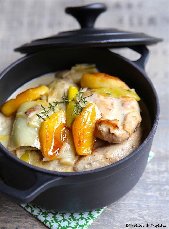Blancs de poulet aux poireaux pommes et cidre                                                                                                                                                                                 Plus