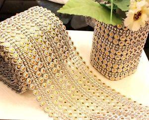 2yd gold Diamond Mesh Wrap Rhinestone Ribbon Crystal Wedding Decoration DIY L472