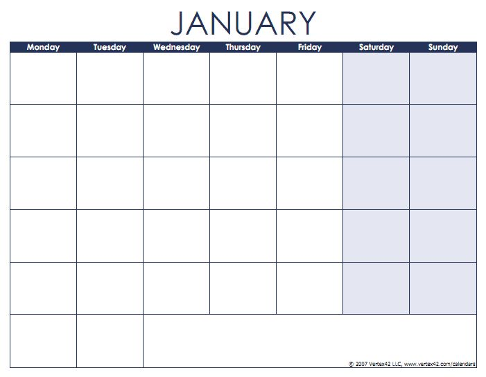 Blank calendars with month names and weekdays - Monday first