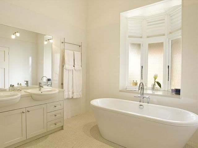 A Modern Take On An Edwardian Bathroom, With Bay Window Casements And  Built In. Neutral Bathroom ColorsBathroom ...