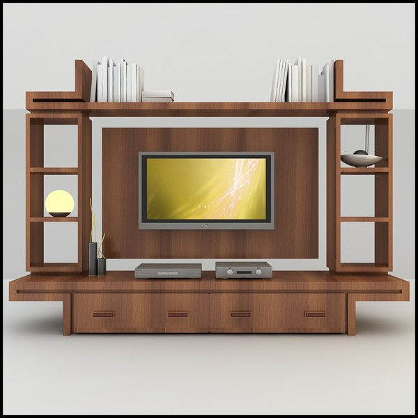 Modern tv wall unit 3d model tv wall unit modern for Modern tv unit design ideas