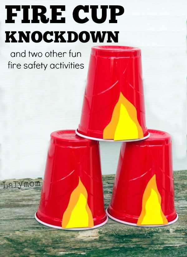 Fire cup knockdown plus 2 more activities for Fire Safety Awareness Week. My boys would love this!!