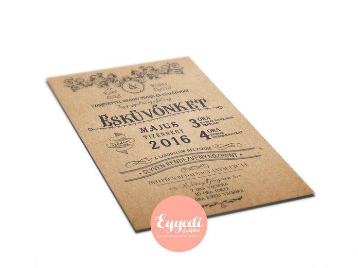 Régies, vintage stílusú esküvői meghívó   Vintage wedding invitation