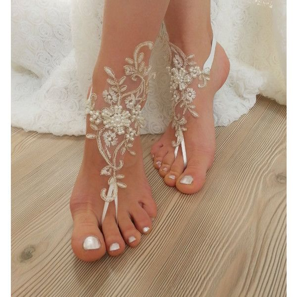 ivory gold beaded, pearl frame Beach, wedding barefoot sandals, Ivory... ($33) ❤ liked on Polyvore featuring shoes, sandals, pearl sandals, pearl shoes, winter white shoes, steampunk shoes and beach shoes