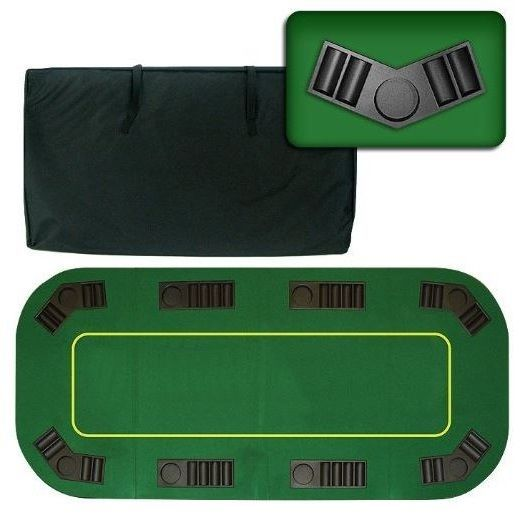 8 Player Folding Poker Table Top Texas Holdem Green Travel Case Casino  BlackJack
