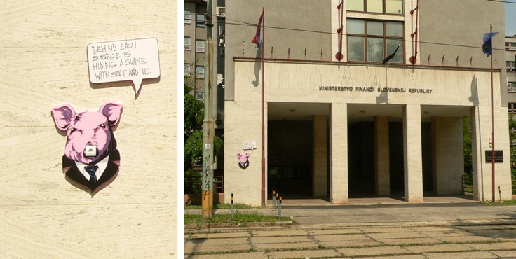 """""""Swine with suit and tie"""" @ Ministry of Finance of the Slovak Republic, Bratislava"""