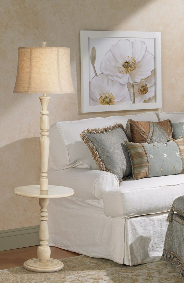 Lara Ivory Vintage Chic Floor Lamp With Tray Table
