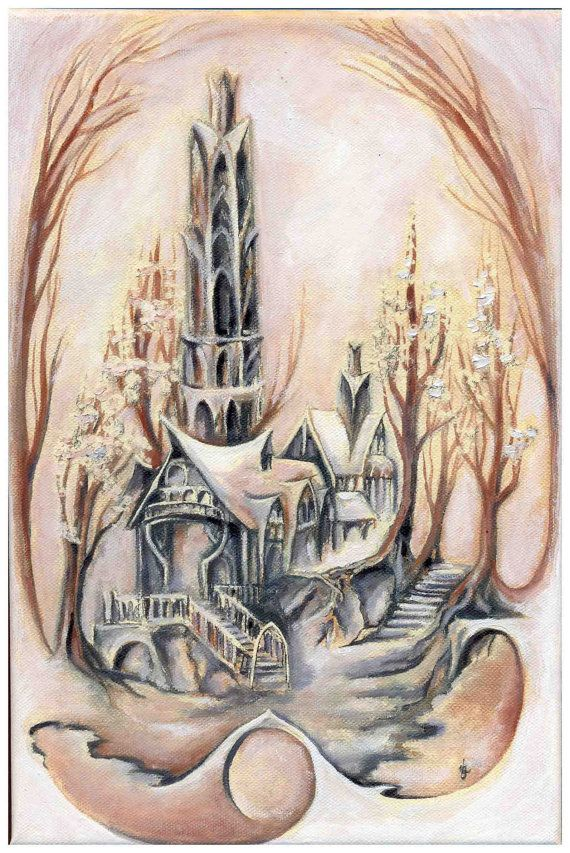 House of Lord Elrond Original oil painting on canvas by JankaLart