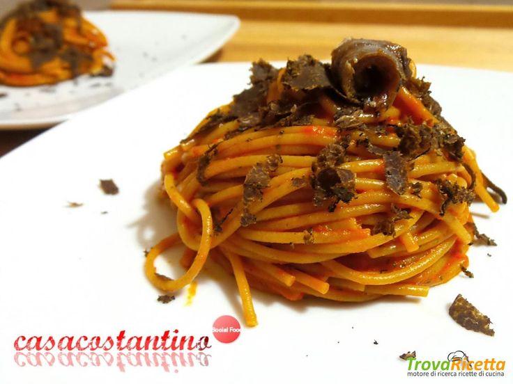 Spaghetti integrali con crema di peperoni e tartufo - Oggi cucina...Samanta  #ricette #food #recipes