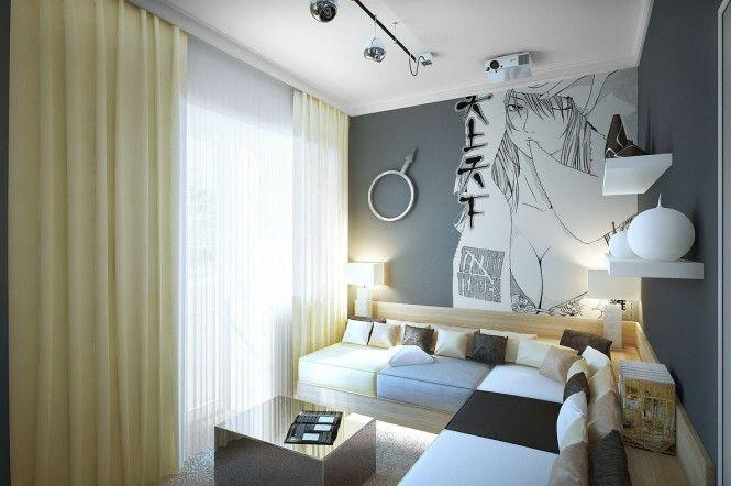 Gray white lounge sofa shelf