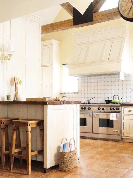 Kitchen with rustic wood beams and breakfast bar with reclaimed wood counter: Kitchens, Wood Counter, Idea, Reclaimed Wood, Country Kitchen, Woods, Wood Beams, Rustic Kitchen