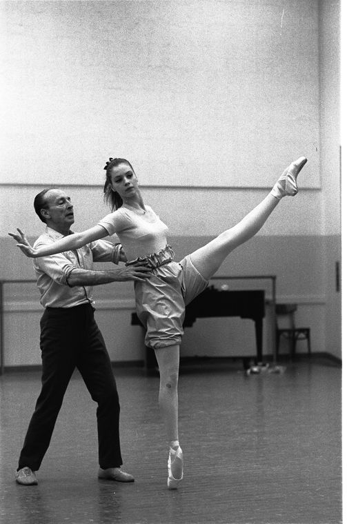 """New York City Ballet rehearsal of """"Swan Lake"""" with George Balanchine and Suzanne Farrell, choreography by George Balanchine (New York)"""