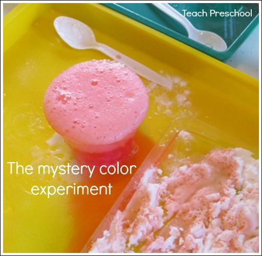 The mystery color experiment  Put food coloring in bottom of cup, cover with baking soda so color is hidden. Use vinegar for reaction!