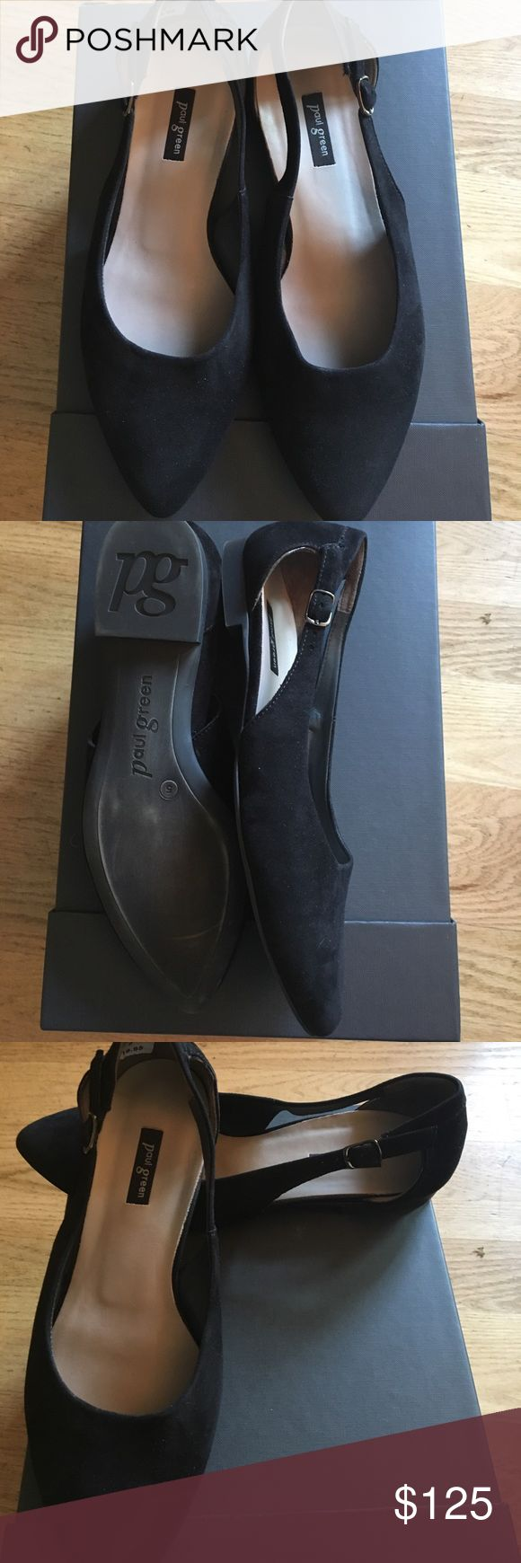 Paul Green black suede flats. Barely worn . Barely worn Paul Green black suede flat shoes. Excellent condition. Size 8 (European size 5). Sizing is in the small side - may fit a 7.5. Paul Green Shoes Flats & Loafers
