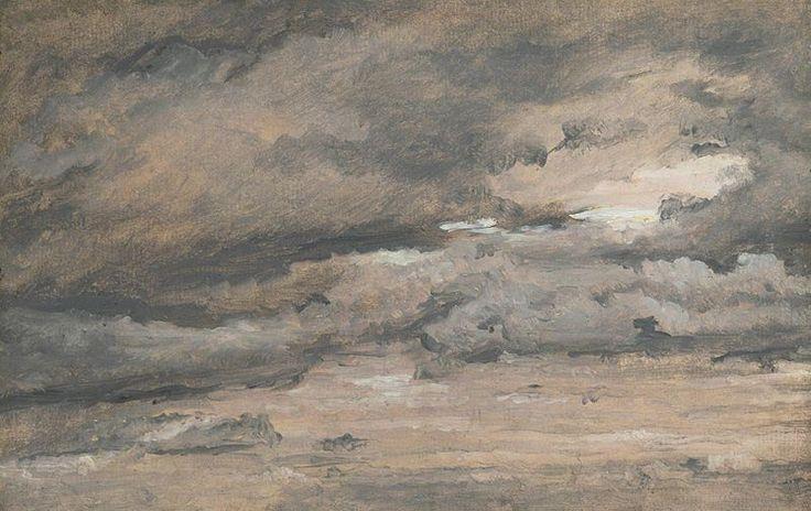 Christen Købke (1810–1848)  TitleAir Study. Reddish evening sky with heavy black-grey clouds Datec. 1840-45 Mediumoil on cardboard Dimen...
