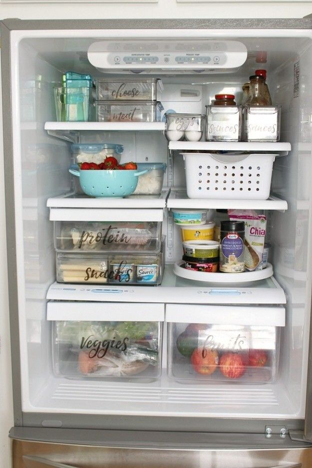 If you want to take it to the next level, label your bins. | 18 Clever Ways To Organize Your Fridge So It Never Gets Dirty