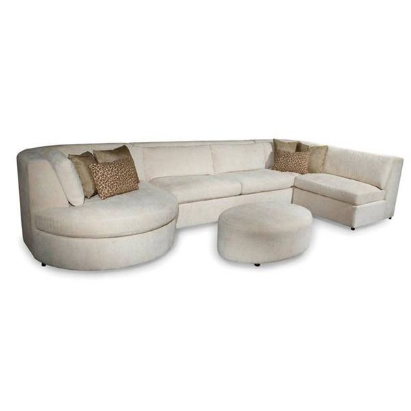Chenille Skirted Sofa: Modern Ivory All Fabric Curved Sectional With Chaise