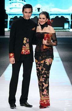 Indonesian couple in beautiful Indonesian Sarong and Kebaya