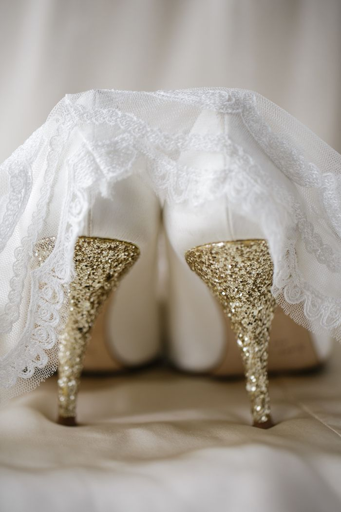 Kate Spade Wedding Shoes: White Pumps, Sparkly Gold Heels, New Orleans Wedding, Weddings, Sparkly Wedding Shoes, Glitter Girl, Real Wedding, Shorts Dresses, Gold Wedding